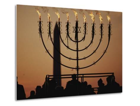 Silhouetted Worshippers Stand Before a Large Menorah Near the Washington Monument-Sam Kittner-Metal Print