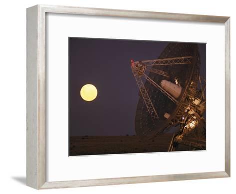 The Full Moon Rises Near a Satellite Dish-Joe Scherschel-Framed Art Print