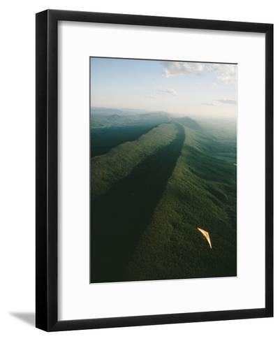 Hang Glider over Massanutten Mountain, Shenandoah Valley-Skip Brown-Framed Art Print