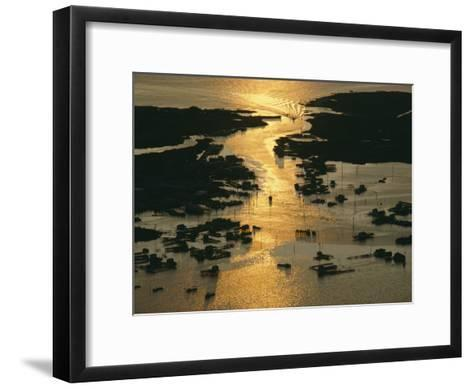 Aerial Shot, Tangier Island, Chesapeake Bay, Virginia-Skip Brown-Framed Art Print