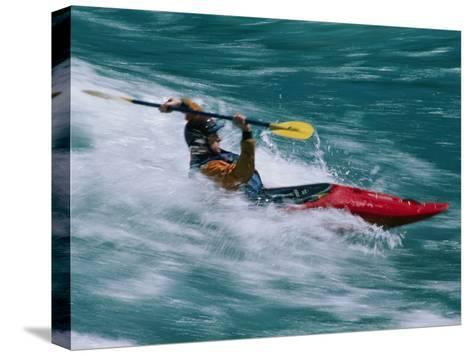 Whitewater Kayaker Surfing a Standing Wave, Futaleufu River, Chile-Skip Brown-Stretched Canvas Print