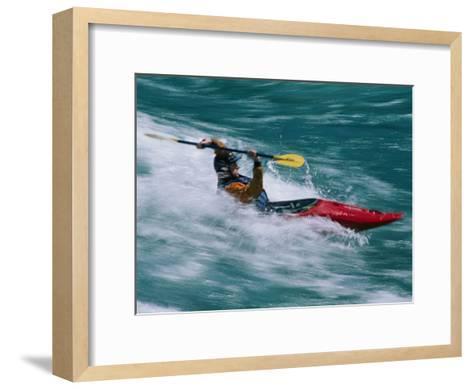 Whitewater Kayaker Surfing a Standing Wave, Futaleufu River, Chile-Skip Brown-Framed Art Print