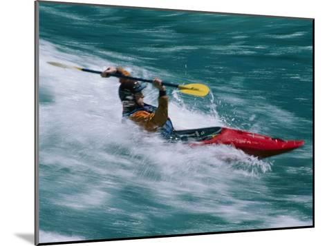 Whitewater Kayaker Surfing a Standing Wave, Futaleufu River, Chile-Skip Brown-Mounted Photographic Print