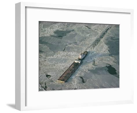 Tugboat Pushing Barge Through Winter Ice on the Chesapeake Bay-Skip Brown-Framed Art Print