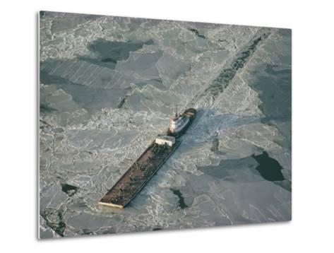 Tugboat Pushing Barge Through Winter Ice on the Chesapeake Bay-Skip Brown-Metal Print