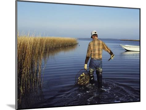 A Clam Digger Carries His Haul Through Chincoteague Island Marshes-Medford Taylor-Mounted Photographic Print