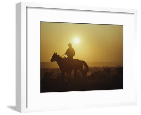A Rancher Rounds up Sheep on a Wyoming Farm-Joel Sartore-Framed Art Print