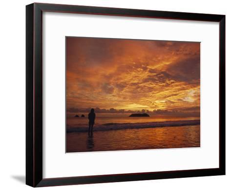 A Brilliant Orange Sunset on the Coast of Costa Rica-Tim Laman-Framed Art Print