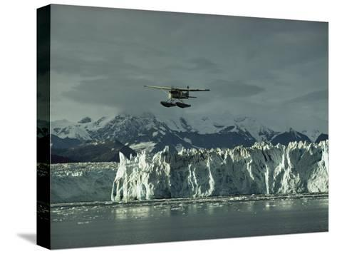 A Floatplane Traverses Columbia Glacier and Prince William Sound-George F^ Mobley-Stretched Canvas Print