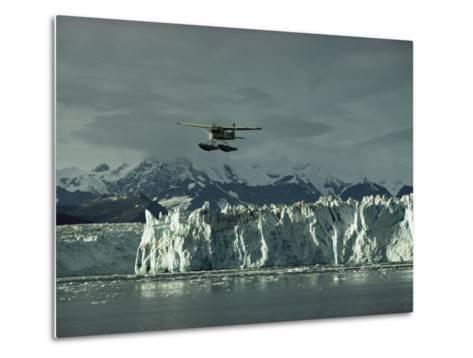 A Floatplane Traverses Columbia Glacier and Prince William Sound-George F^ Mobley-Metal Print