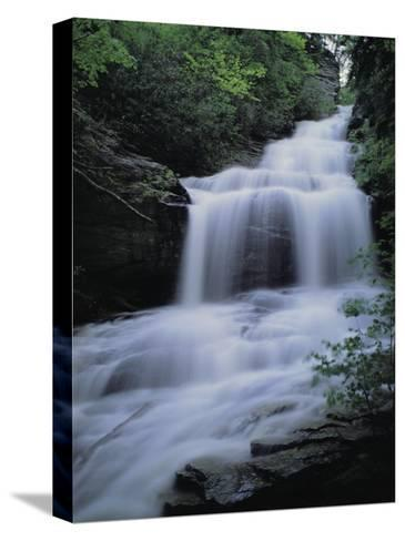 Upper Cascades Falls Flows Down a Mountain in Hanging Rock State Park-Raymond Gehman-Stretched Canvas Print
