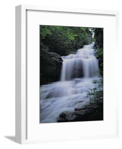 Upper Cascades Falls Flows Down a Mountain in Hanging Rock State Park-Raymond Gehman-Framed Art Print