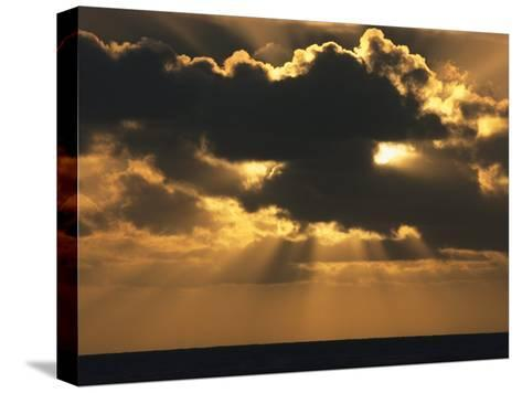 Rays of Sunlight Beam from Behind a Dark Cloud over Water at Twilight-Tim Laman-Stretched Canvas Print