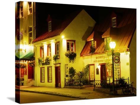 Historic Restaurant at Night, Quebec City, Canada-Wayne Walton-Stretched Canvas Print
