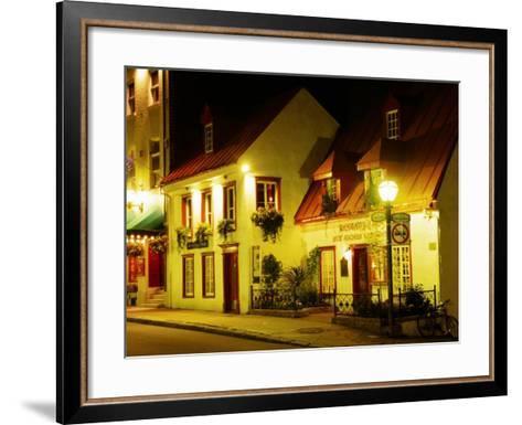 Historic Restaurant at Night, Quebec City, Canada-Wayne Walton-Framed Art Print