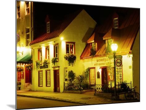 Historic Restaurant at Night, Quebec City, Canada-Wayne Walton-Mounted Photographic Print