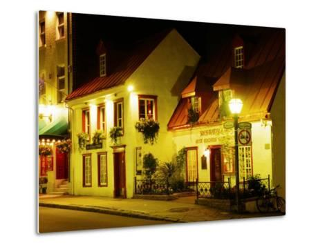 Historic Restaurant at Night, Quebec City, Canada-Wayne Walton-Metal Print