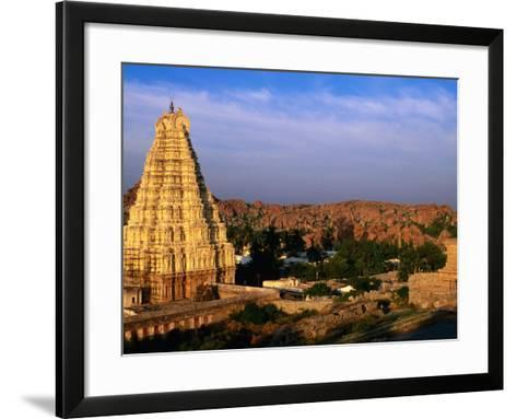 Overhead of Virupaksha Temple, Hampi Bazaar and Surrounding Hills from Hemakuta Hill, Hampi, India-Peter Ptschelinzew-Framed Art Print