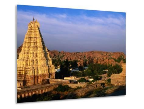 Overhead of Virupaksha Temple, Hampi Bazaar and Surrounding Hills from Hemakuta Hill, Hampi, India-Peter Ptschelinzew-Metal Print