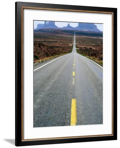 Highway 163 and Distant Buttes, Monument Valley Navajo Tribal Park, U.S.A.-Ruth Eastham-Framed Art Print