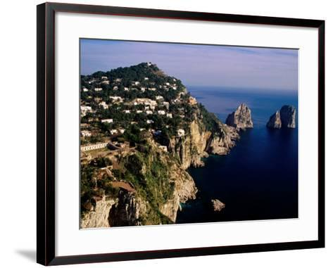 Rocky Coastline and Isola Faraglioni Offshore Rocks from Gardens of Augustus, Capri, Italy-Pershouse Craig-Framed Art Print