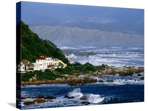 Storm Waves Lash Coast at Island Bay, Wellington, New Zealand-Paul Kennedy-Stretched Canvas Print