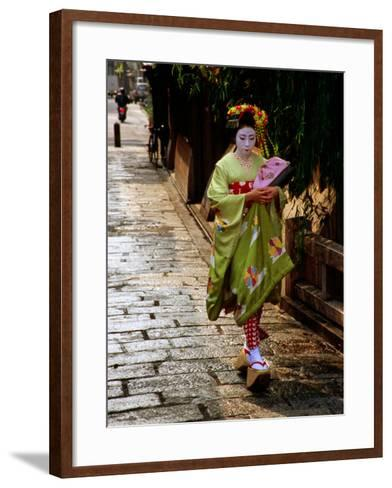 Maiko Walking Along Street in Gion, Kyoto, Japan-Frank Carter-Framed Art Print