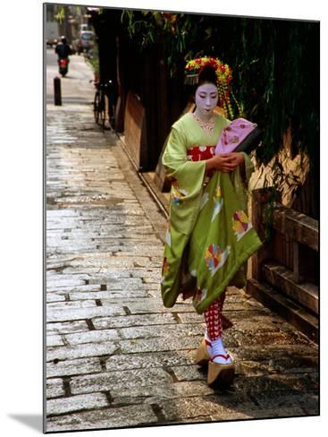 Maiko Walking Along Street in Gion, Kyoto, Japan-Frank Carter-Mounted Photographic Print
