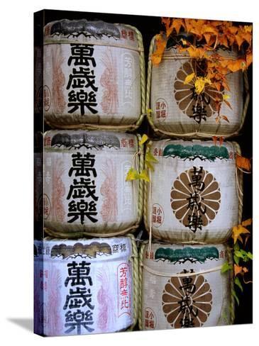 Stack of Saki Barrels, Kanazawa, Japan-Frank Carter-Stretched Canvas Print
