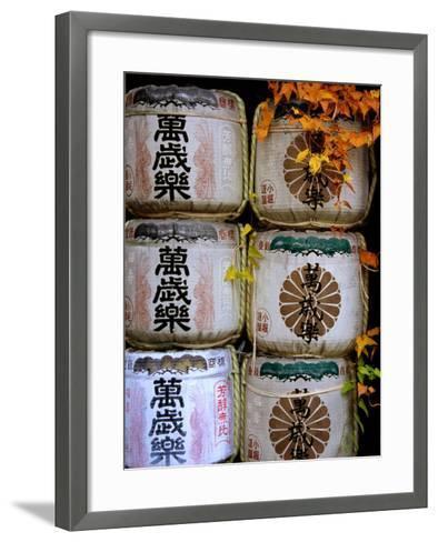 Stack of Saki Barrels, Kanazawa, Japan-Frank Carter-Framed Art Print