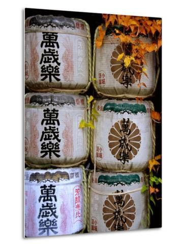 Stack of Saki Barrels, Kanazawa, Japan-Frank Carter-Metal Print