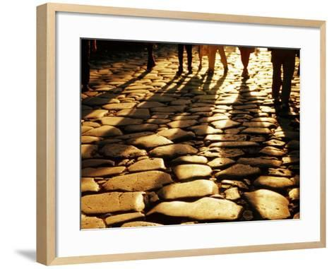 Via Sacra Cobblestones and Pedestrian Shadows at Roman Forum, Rome, Italy-Johnson Dennis-Framed Art Print