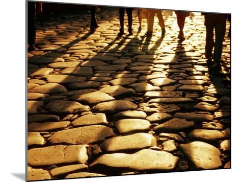 Via Sacra Cobblestones and Pedestrian Shadows at Roman Forum, Rome, Italy-Johnson Dennis-Mounted Photographic Print