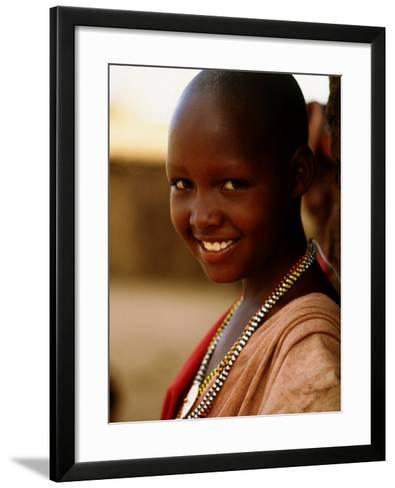 Maasai Girl, Masai Mara National Reserve, Kenya-Tom Cockrem-Framed Art Print
