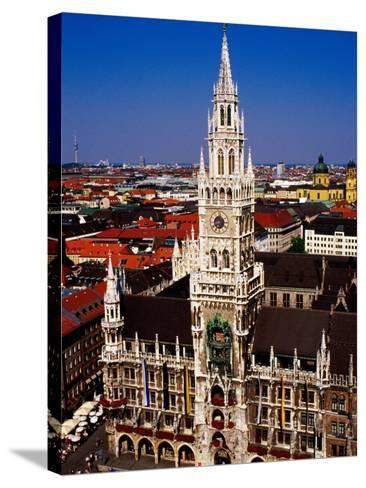 Overhead of Neo-Gothic Neues Rathaus (New Town Hall), Munich, Germany-Krzysztof Dydynski-Stretched Canvas Print