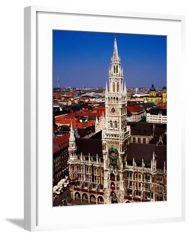 Overhead of Neo-Gothic Neues Rathaus (New Town Hall), Munich, Germany-Krzysztof Dydynski-Framed Art Print
