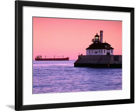 South Breakwater Outer Lighthouse at Dawn, with Ship on Horizon, Duluth Harbor, Duluth, USA-Richard Cummins-Framed Art Print