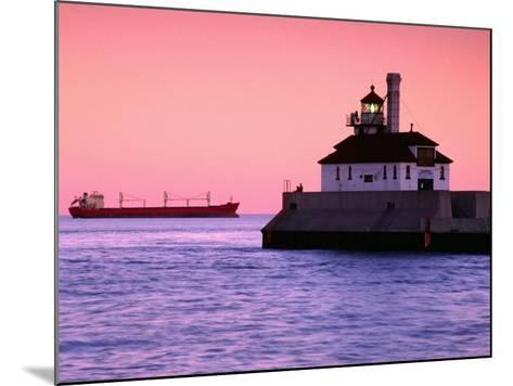 South Breakwater Outer Lighthouse at Dawn, with Ship on Horizon, Duluth Harbor, Duluth, USA-Richard Cummins-Mounted Photographic Print
