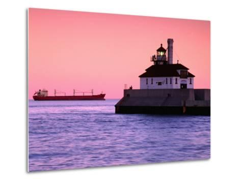 South Breakwater Outer Lighthouse at Dawn, with Ship on Horizon, Duluth Harbor, Duluth, USA-Richard Cummins-Metal Print