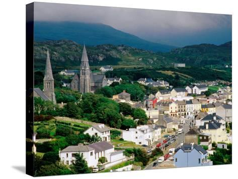 Overhead of Town with Surrounding Hills, Clifden, Ireland-Richard Cummins-Stretched Canvas Print