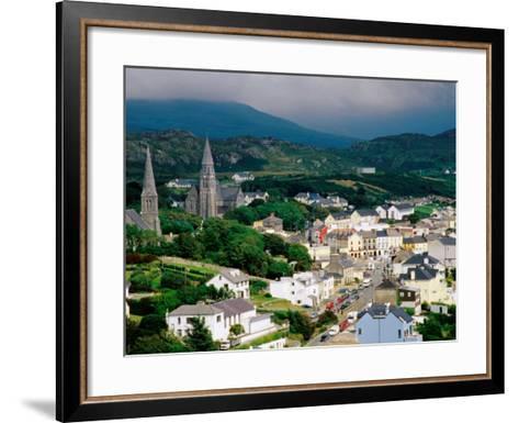 Overhead of Town with Surrounding Hills, Clifden, Ireland-Richard Cummins-Framed Art Print