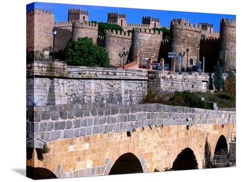 Alcazar and Stone Bridges, Avila, Spain-John Banagan-Stretched Canvas Print