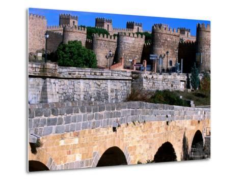 Alcazar and Stone Bridges, Avila, Spain-John Banagan-Metal Print
