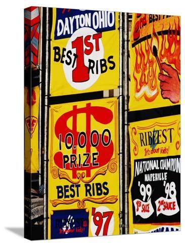 Detail of Rib Stall Signs at Jazz & Rib Festival, Columbus, United States of America-Richard I'Anson-Stretched Canvas Print