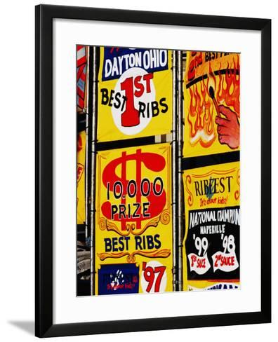 Detail of Rib Stall Signs at Jazz & Rib Festival, Columbus, United States of America-Richard I'Anson-Framed Art Print