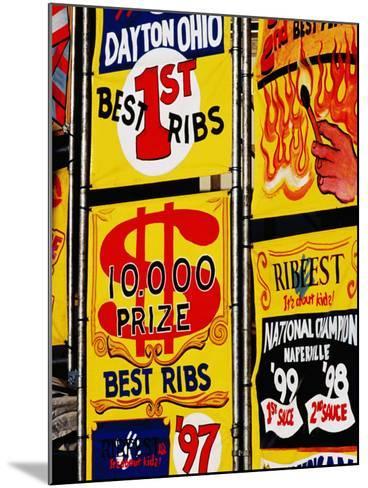 Detail of Rib Stall Signs at Jazz & Rib Festival, Columbus, United States of America-Richard I'Anson-Mounted Photographic Print