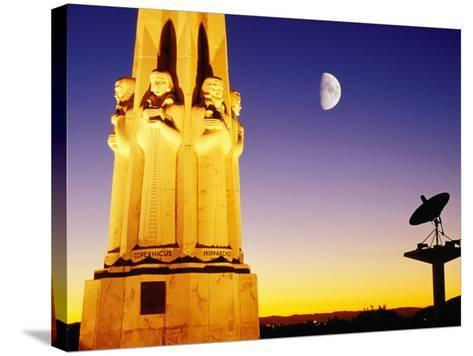 Statue, Moon and Satellite Dish, Griffith Observatory, Griffith Park, Hollywood, Los Angeles, USA-Richard Cummins-Stretched Canvas Print