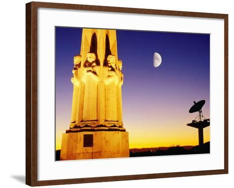 Statue, Moon and Satellite Dish, Griffith Observatory, Griffith Park, Hollywood, Los Angeles, USA-Richard Cummins-Framed Art Print