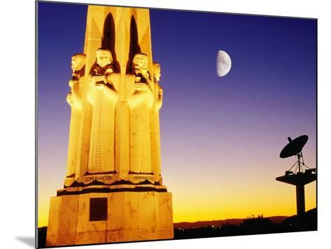Statue, Moon and Satellite Dish, Griffith Observatory, Griffith Park, Hollywood, Los Angeles, USA-Richard Cummins-Mounted Photographic Print