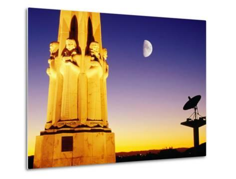 Statue, Moon and Satellite Dish, Griffith Observatory, Griffith Park, Hollywood, Los Angeles, USA-Richard Cummins-Metal Print